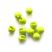 Вольфрамовые головки граненые с вырезом Tungsten Beads Flo Yellow 4.0mm/0.46gr